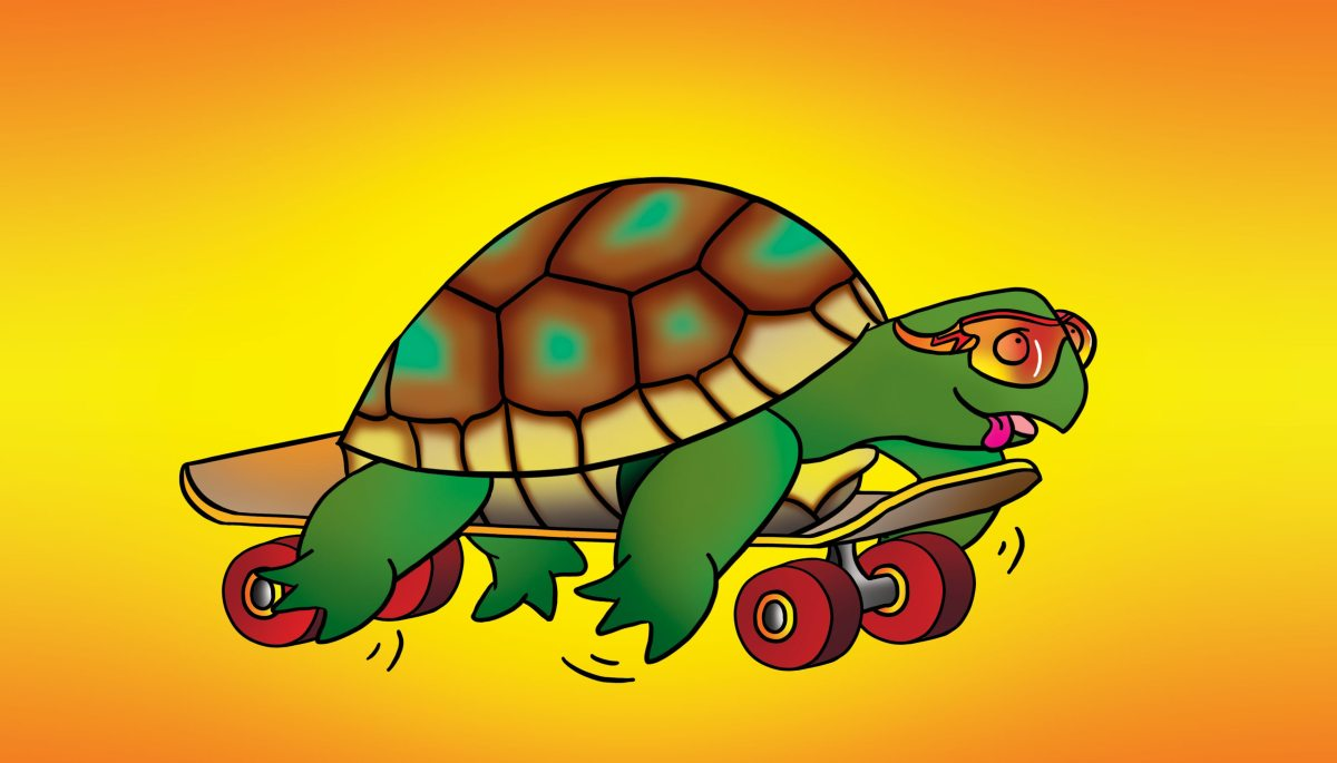 "Cartoon excerpt (tortoise on a skateboard, turtle on a skateboard, slow) from the digital book of cartoons on climate change, ""Little Climate: We Need to Talk About Climate Disruption"" by Suzanne Chew."