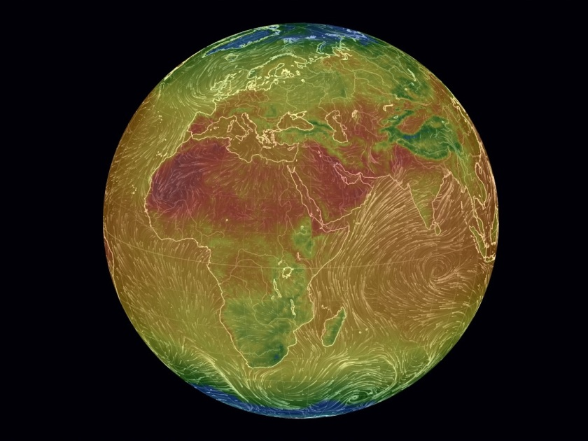 Over Africa - Air Surface Temperature and Wind, earth.nullschool.net