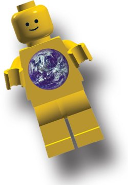 Minifigure with Earth Globe logo