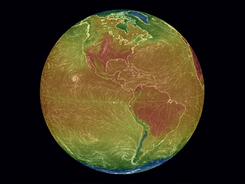Over the Americas - Air Surface Temperature and Wind, earth.nullschool.net