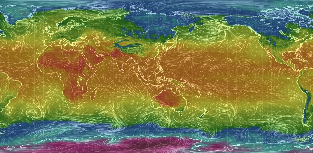 Wind and Air Temperature, Oct 2016 - credit: Earth Null School https://earth.nullschool.net/